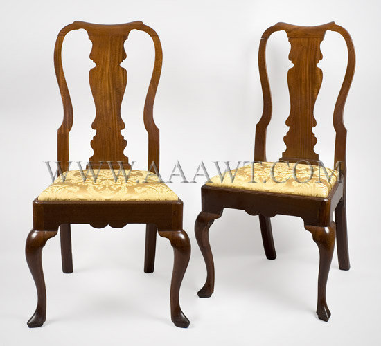 Pair Queen Anne Side Chairs Mahogany Circa 1740-1760 - SOLD - Antique Furniture_Chairs Formal, Upholstered, Sofas