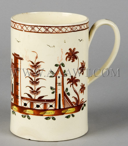 Creamware Mug Polychrome Decorated, entire view