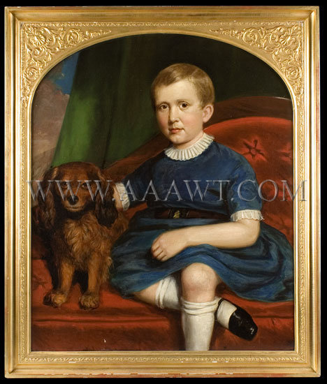 Boy with Dog    Signed Joseph G. Cole (1806-1858) Boston 1855, entire view
