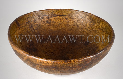 Burl Bowl New England 18th Century, entire view