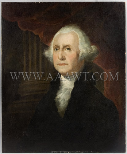 George Washington, After Gilbert Stuart Athenaeum Portrait  Anonymous, found in South Carolina  Oil on Canvas  19th Century, entire view