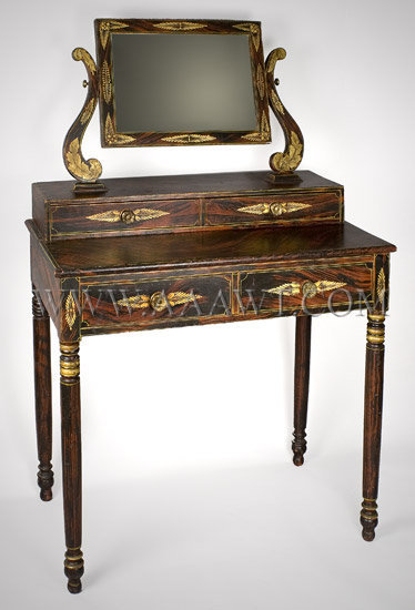 Outstanding Paint Decorated  Classical Dressing Table  Maine  Circa 1820, angle view