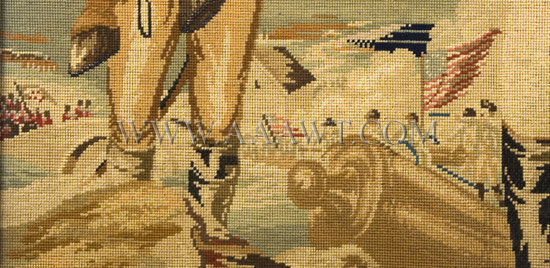 Berlin Needlework Portrait  Full Standing Figure of Washington  Multicolored cotton  Circa 1850, detail view 3