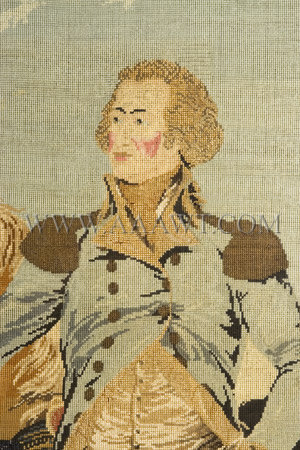Berlin Needlework Portrait  Full Standing Figure of Washington  Multicolored cotton  Circa 1850, detail view 1