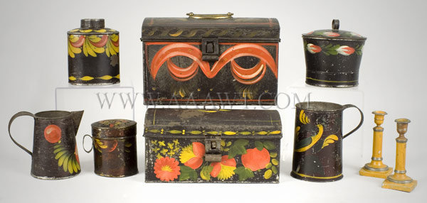 Tole, Painted Tin, Canisters, Trunks, Mug, entire view