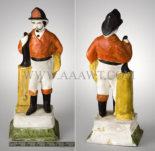 Antique Chalkware Figure, Fireman, Painted, front and rear entire views