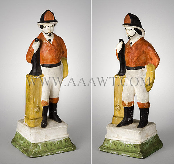 Antique Chalkware Figure, Fireman, Painted, angle views