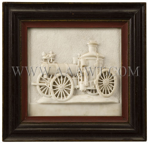 Antique Plaque, Steamer Fire Engine, Carved Marble, entire view