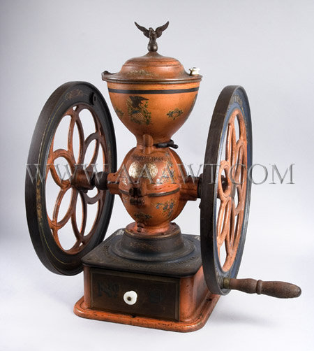 "Enterprise Coffee Mill, Original Red & Blue Paint & Decoration, Eagle Finial, 27"" Philadelphia, Late 19th Century, entire view"