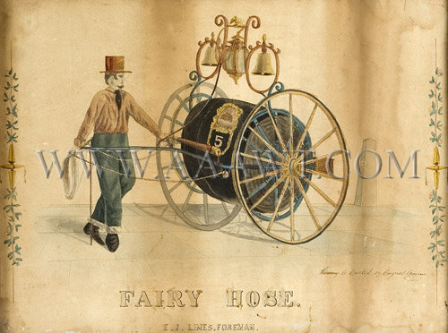 Antique Watercolor, Fireengine, Fair Hose Cart, close up