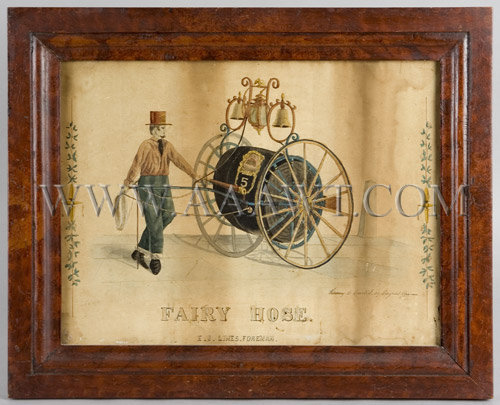 Antique Watercolor, Fireengine, Fair Hose Cart, entire
