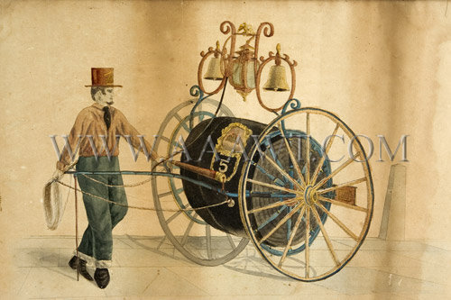 Antique Watercolor, Fireengine, Fair Hose Cart, engine detail