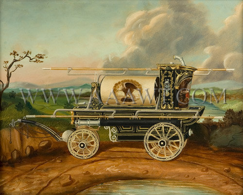 Antique Painting, Eagle Fire Engine Company, Oil on Board, close up