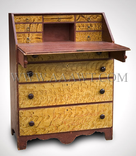 A stand up fall front desk identical in design signed George Pierce,  Manlius, ... - Antique Furniture_Desk, Bookcase, Breakfront