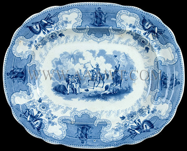 Texian Campaigne Series Staffordshire Blue Transfer-Printed Platter Superb original condition Anthony Shaw Circa 1851-1875, entire view