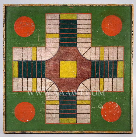 Antique Game Board, Parcheesi, Original Paint, entire view
