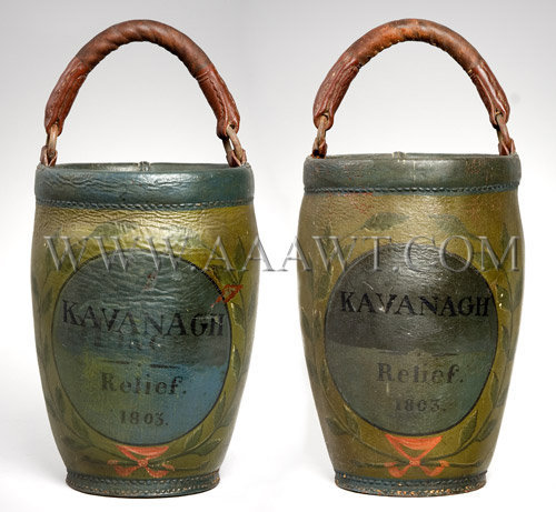 Antique Fire Buckets, Leather, Painted, entire views