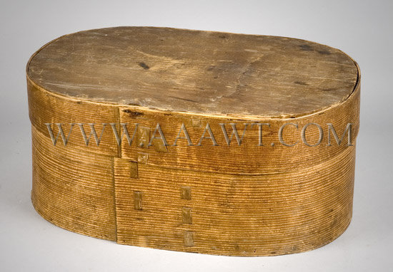 Early Covered Wooden Box in Attic Surface, entire view