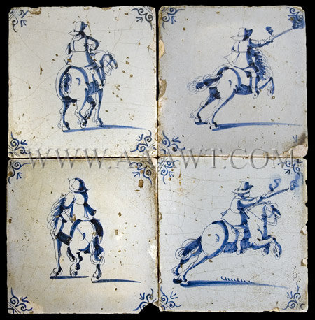 Group of Four Delft Tiles, entire view
