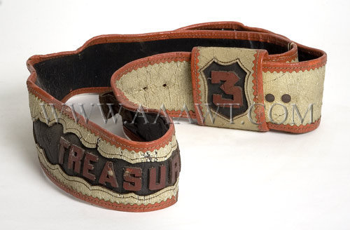 Fireman's Parade Belt, Leather  Treasure  19th Century, entire view