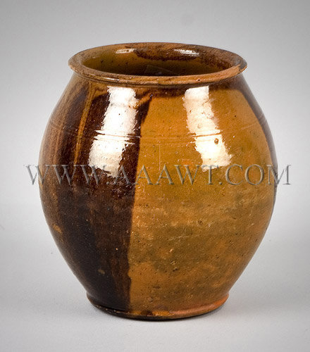 Redware Jar, Ovoid Form New England Circa 1830 to 1840, entire view