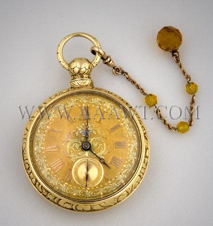 Gold Case Pocket Watch Tobias Circa 1815, entire view