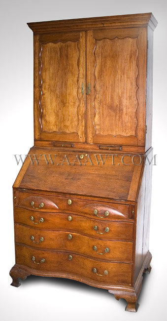 Chippendale  Cherry Oxbow Serpentine Desk Bookcase  Connecticut River Valley...probably Deerfield/Greenfield  Circa 1780, entire view