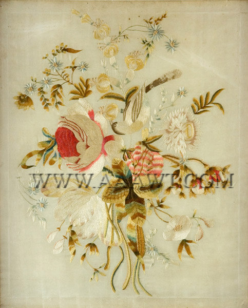 Antique Embroidery, Floral Needlework, Silk on Silk, close up view