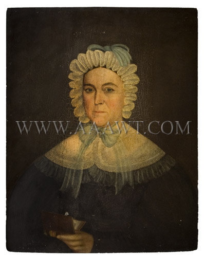 Portrait On Panel Woman Holding Book American...untouched Circa 1830's Oil on panel, entire view