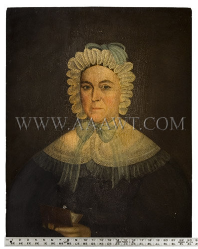 Portrait On Panel Woman Holding Book American...untouched Circa 1830's Oil on panel, scale view