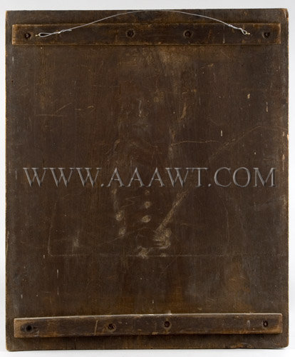 Portrait On Panel Woman Holding Book American...untouched Circa 1830's Oil on panel, back view