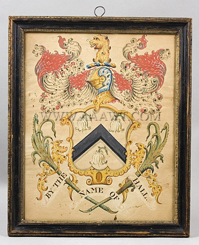 Hall Family Coat of Arms, John Coles (Attributed)  Coat Of Arms  Watercolor on Paper, entire view