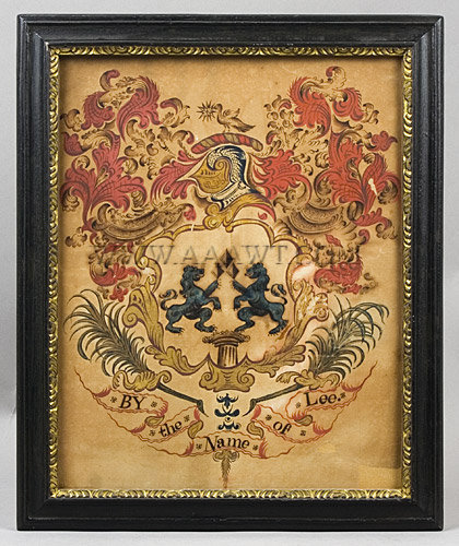 Lee Family Coat of Arms, John Coles (Attributed)  Coat Of Arms, entire view