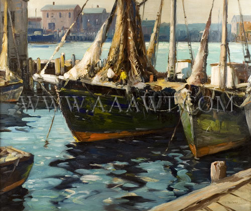 Vladimir Pavlosky (1884-1944) Gloucester Waterfront, entire view