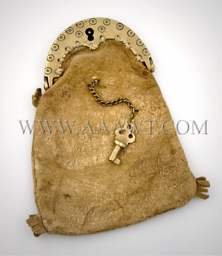 Antique Purse, Leather, with Brass Lock and Key, lock side view