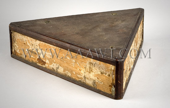 Extremely Rare  Tri-Corner Hat Box  American  18th Century, entire view