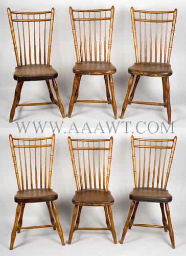 Double Bow Square Back Windsor Side Chairs Matched Set Of Six New England,  Possibly Maine Circa 1810 1820   SOLD
