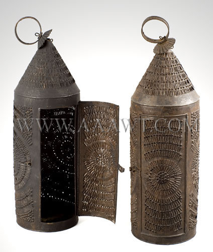 Pair of Punched Barn Lanterns