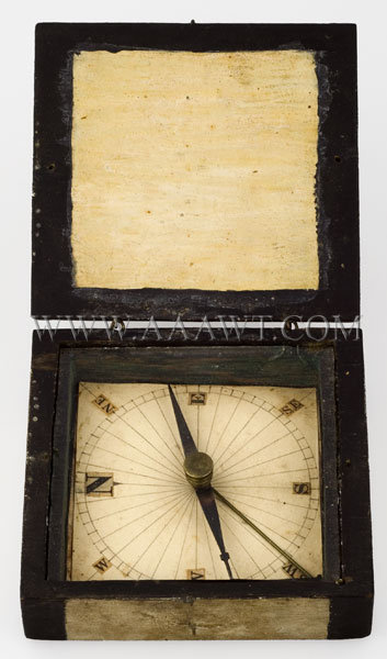 Antique Compass, Painted Box, Hand Made, open entire view