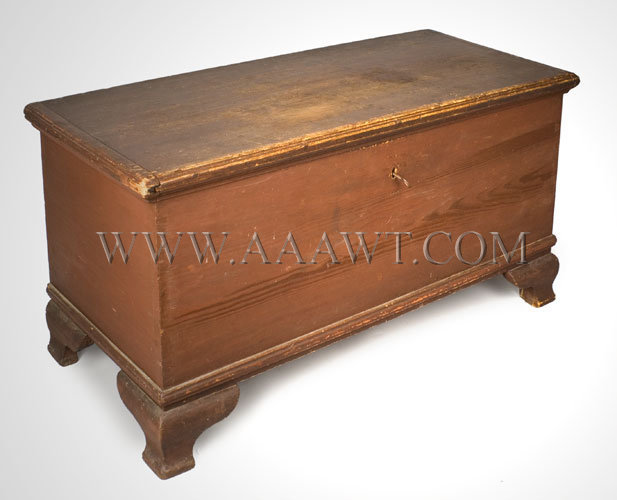 Antique Chippendale Blanket Chest Pennsylvania Circa 1800, angle view