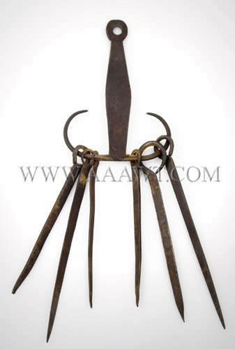 Hand Forged Skewers and Hanger  Possibly American  18th Century, entire view