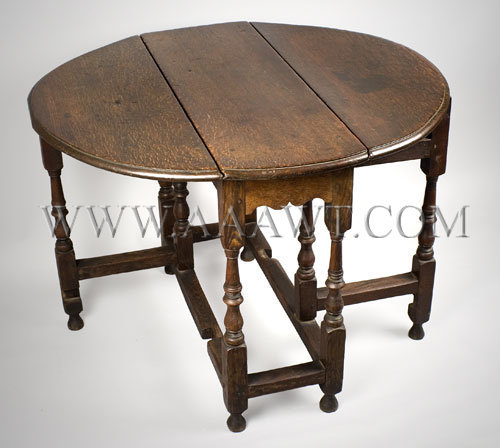 Gate Leg Table England...scarce small size 17th Century, angle view