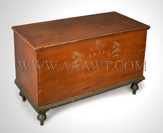 Blanket Chest, Original Paint and Stenciled Decoration Possibly Western New York or Ohio Circa 1877, entire view