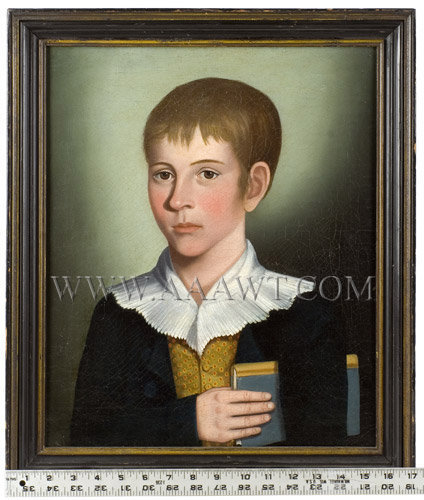 Portrait of a Boy Holding Book, Benjamin Greenleaf  Attributed to BENJAMIN GREENLEAF (1769 to 1821)  Probably Massachusetts, circa 1818, entire view