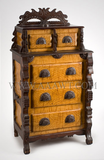Child's Chest of Drawers, Carved, Stained and Painted, Folk Art Unknown Maker, Possibly Pennsylvania Late 19th Century, angle view
