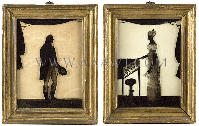Reverse Painted On Glass Pair Of Eglomise Silhouettes Lt.Gen/Sir Adam WILLIAMSON and Lady Ann (Jones) Williamson Each With Label Of WM. Hamlet of Bath...Patronized by Her Majesty Subjects identified on backboards; inked period script... Circa 1800-1815, entire view