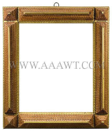 Antique Frame, Tramp Art Carved, Painted and Gilt, entire view