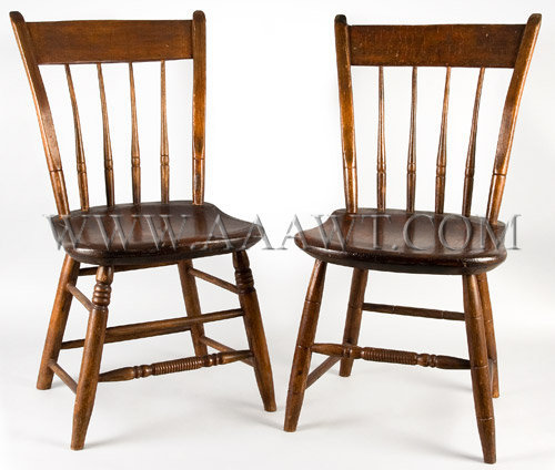 Pair Of Thumb Back Youth Windsor Chairs Lynn Machusetts Circa 1850
