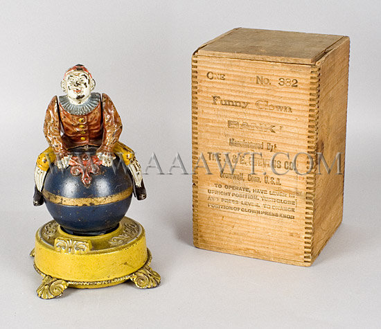 Antique Bank, Mechanical Bank, Clown on Globe, With Original Box, bank and box view