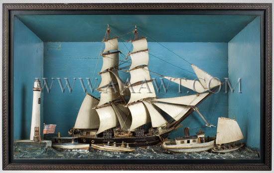 Antique Diorama, Steam Ship USS Ida, Carved and Painted, entire view